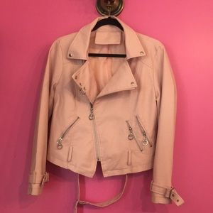 Leather Look Jacket . Pink  size S🌸
